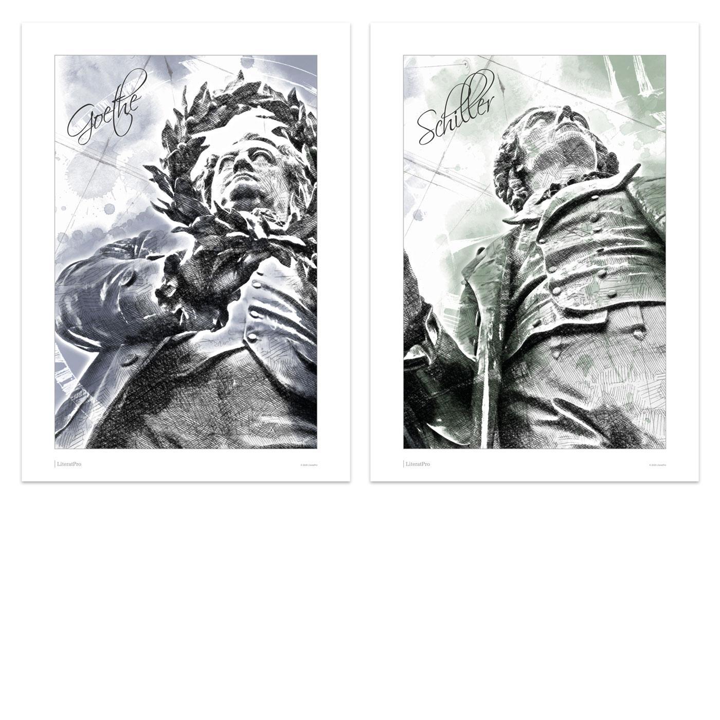 Bild zeigt Kunstdruck Poster Goethe und Schiller